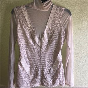 Blush pink Guess Turtleneck Top Lace and Mesh